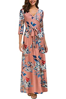 d8f103815f2 Kranda Womens 3 4 Sleeve V Neck Floral Print Faux Wrap Long Maxi Dress with