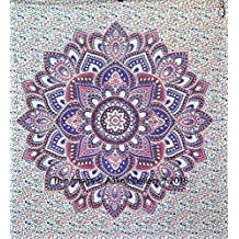 Tapestry Double Ombre Beach Sheet Indian wall Hanging Mandala BedSpread Dorm Decor Tapestries 92x82 Inches Aakriti Gallery (Purple)