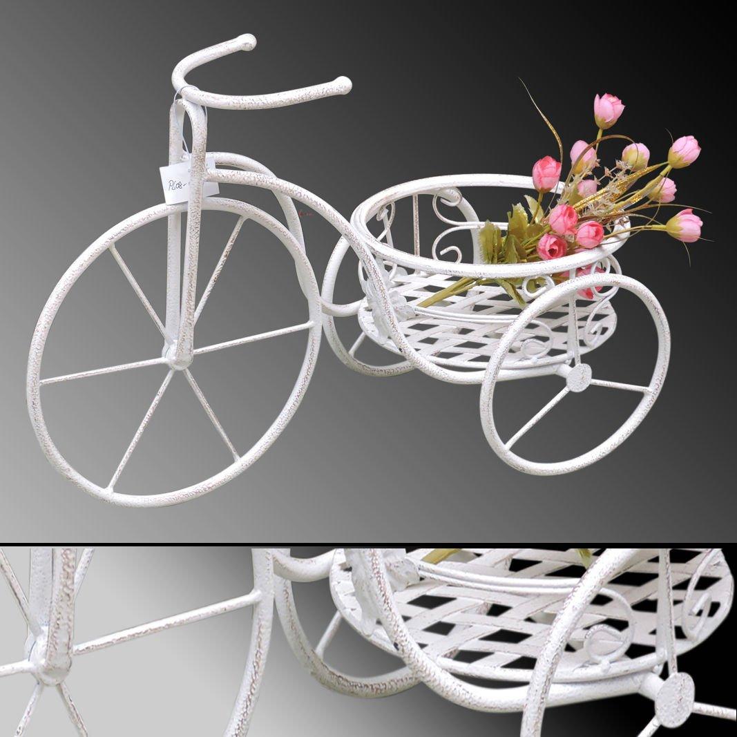 PFLANZTISCH Fahrrad #06 WEISS Blumenregal Dreirad Metall Shabby Deko Blumentopf