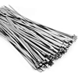 (100PCS 11.8 Inch) Metal Cable Zip Ties, 304 Stainless Steel, Multi-purpose Heavy Duty Self-locking Cable Ties,Suitable for E