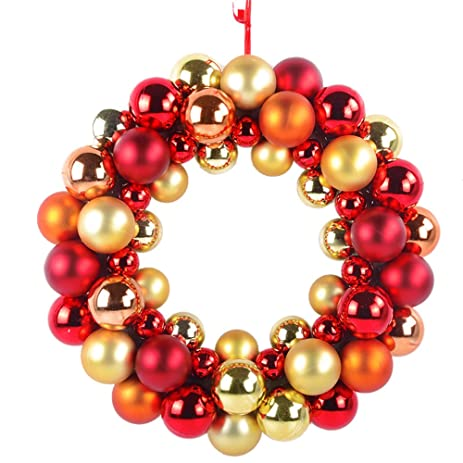 Amazon Com Red Gold Balls Christmas Wreath Garland Ornaments