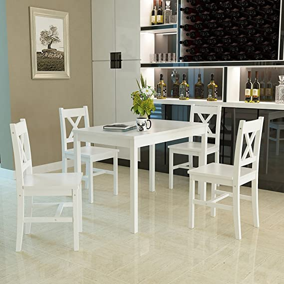 Newzeal, set di tavolo da pranzo in legno di pino massiccio
