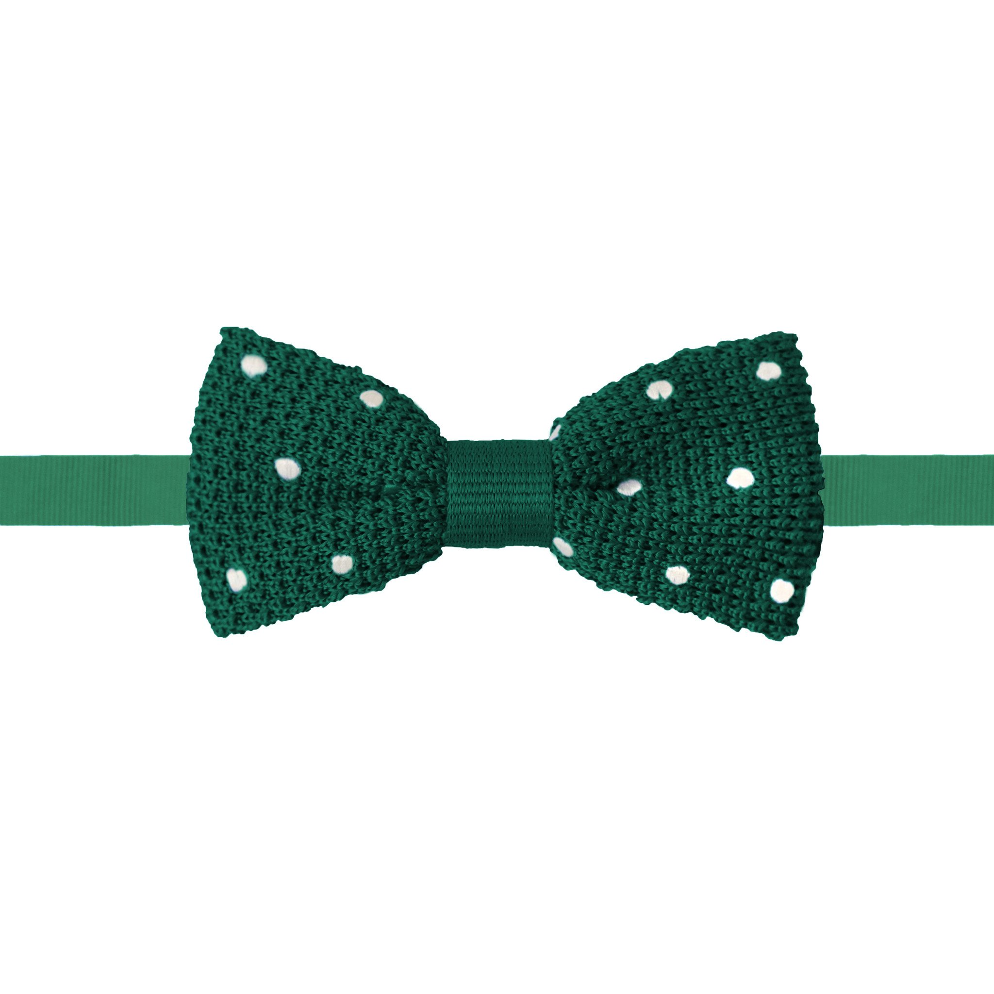 Knit Polka Dot Bow Tie Green