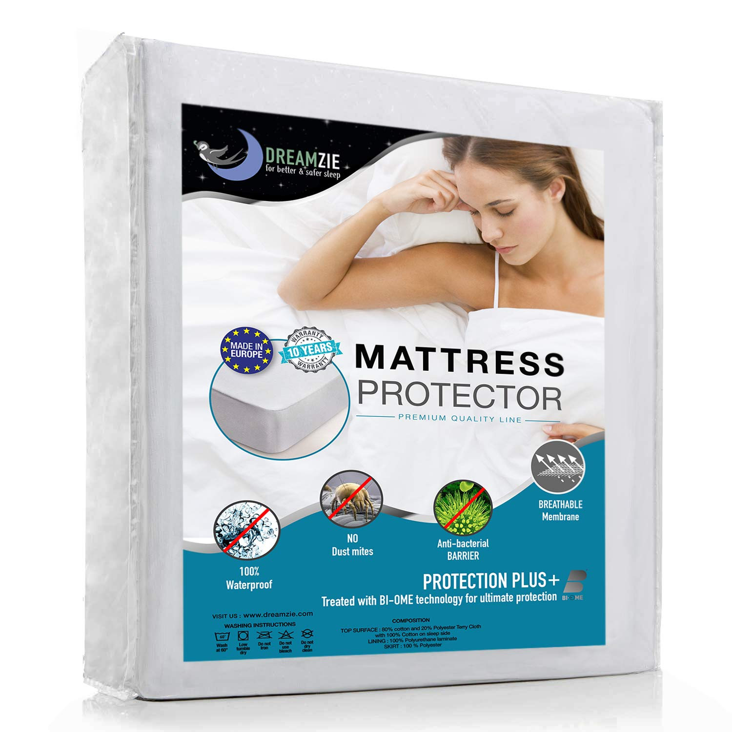 Dreamzie Waterproof Mattress Protector Breathable, Hypoallergenic, Anti-Mite, Anti-Bacterial, Anti-Mold Fitted Topper for Double Bed - New Bi-Ome Treatment - 10 Year Warranty (Toddler (60 x 120 cm)) BMS International