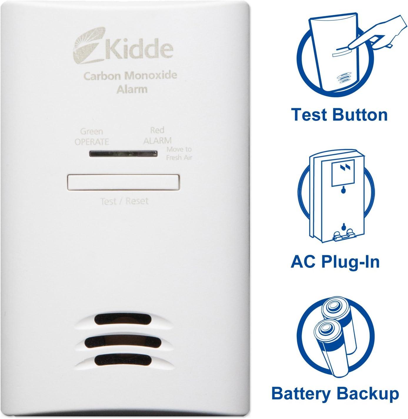 Kidde Tamper Resistant Plug-In Carbon Monoxide Detector Alarm with Battery Backup Model KNCOB-DP2