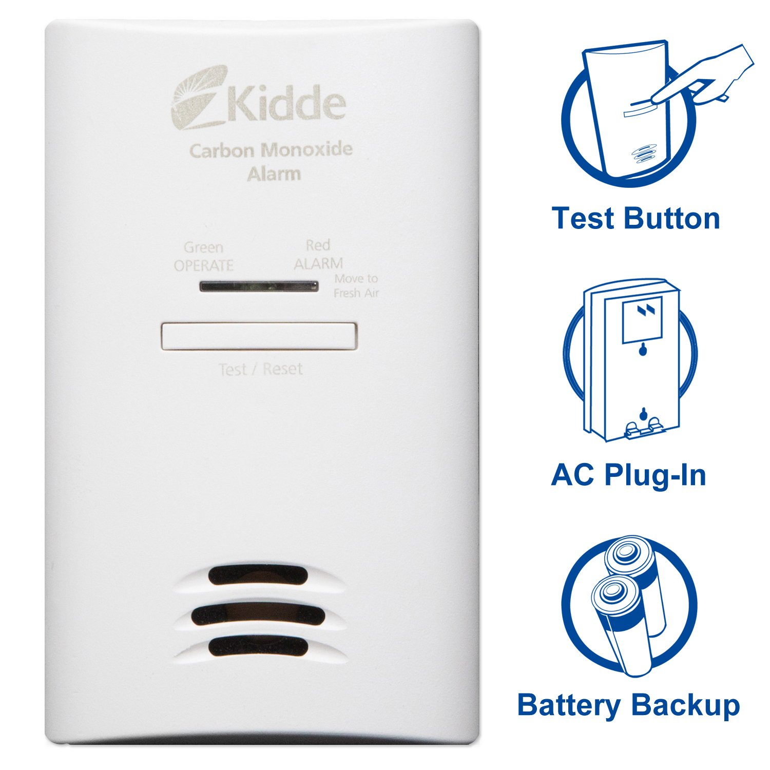 Kidde Tamper Resistant Plug-In Carbon Monoxide Detector Alarm with Battery Backup | Model KNCOB-DP2