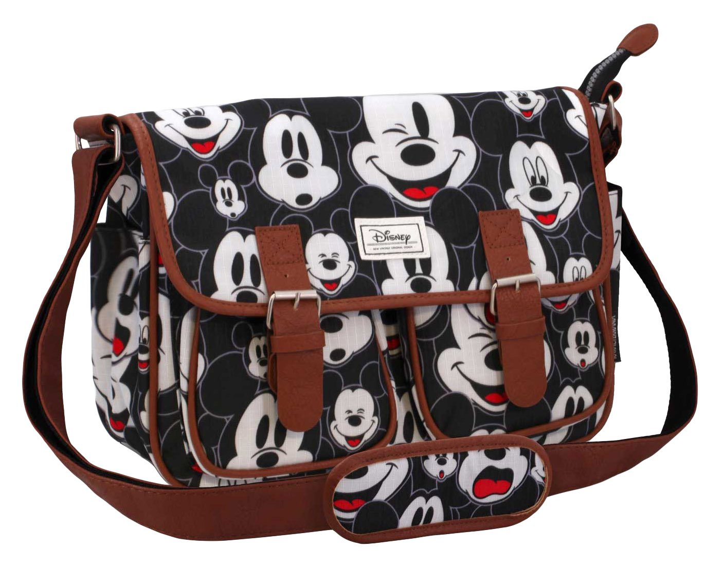 Disney Classic Mickey Visages Umhängetasche, 34 cm, Schwarz (Negro) Karactermania 36382