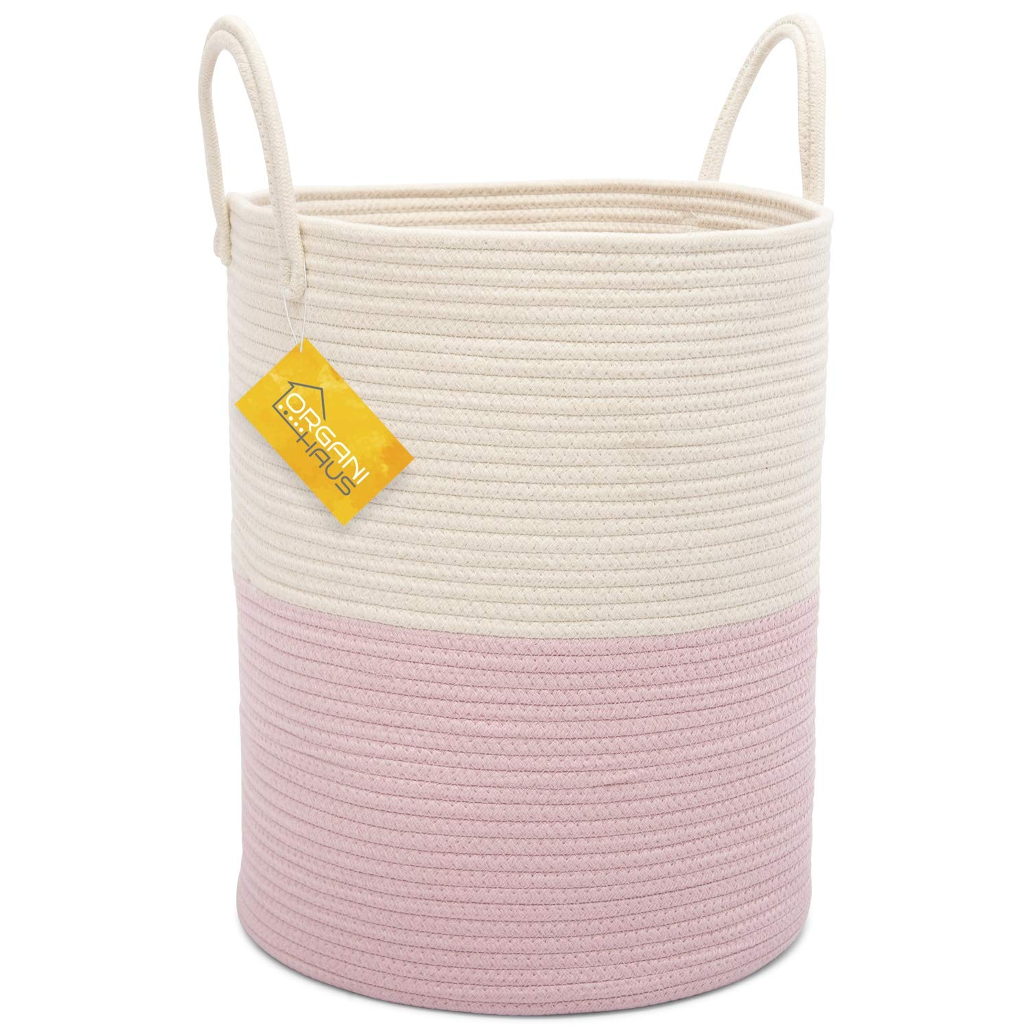 OrganiHaus XL Extra Large Cotton Rope Basket | 15x18'' Nursery Storage Basket with Long Handles | Decorative Clothes Hamper Basket | Tall White and Baby Pink by OrganiHaus