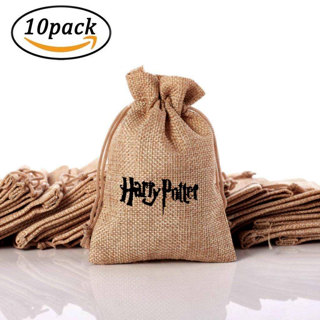Sacs-cadeaux en cordon de jute en lin de Hesse, Sacs en toile de jute avec le thème Harry Potter, Sac cadeau pour bijoux, beaux cadeaux, cadeaux de fête de mariage (10 PCS) 65ol