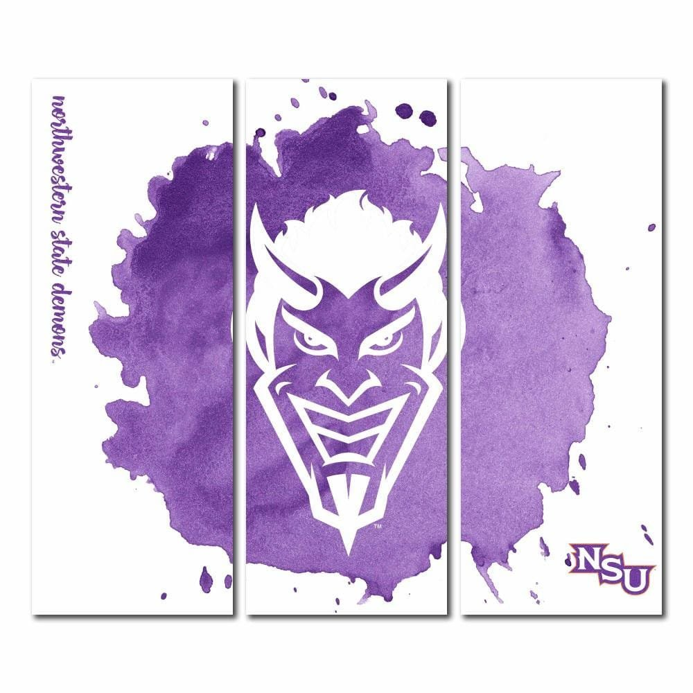 Northwestern State University of Louisiana Demons Triptychキャンバス壁アート水彩 48x54  B071ZHQRRL