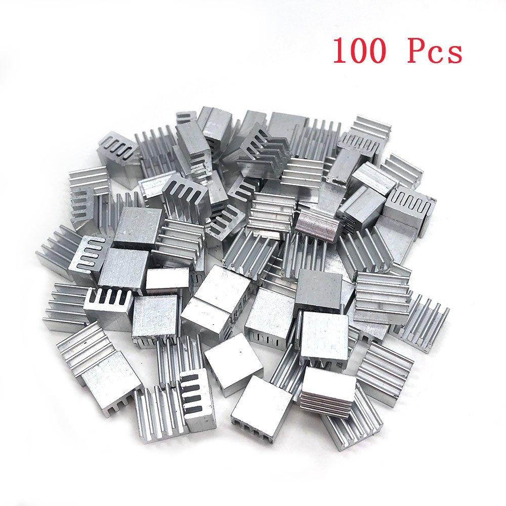 Yootop 100 Pcs Aluminum Heatsink Raspberry Pi Cooler Circuit Board 8.5mm x 8.5mm x 5mm(0.33''x0.33''x0.19'')
