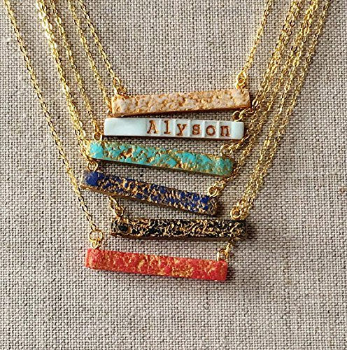 Name or Date Bar Necklace, Color Reversible Horizontal Stamped Bar Necklace, Red, Blue, Turquoise, Black, Aqua, Cream and Gold, 2 in 1 - Date Turquoise Necklace