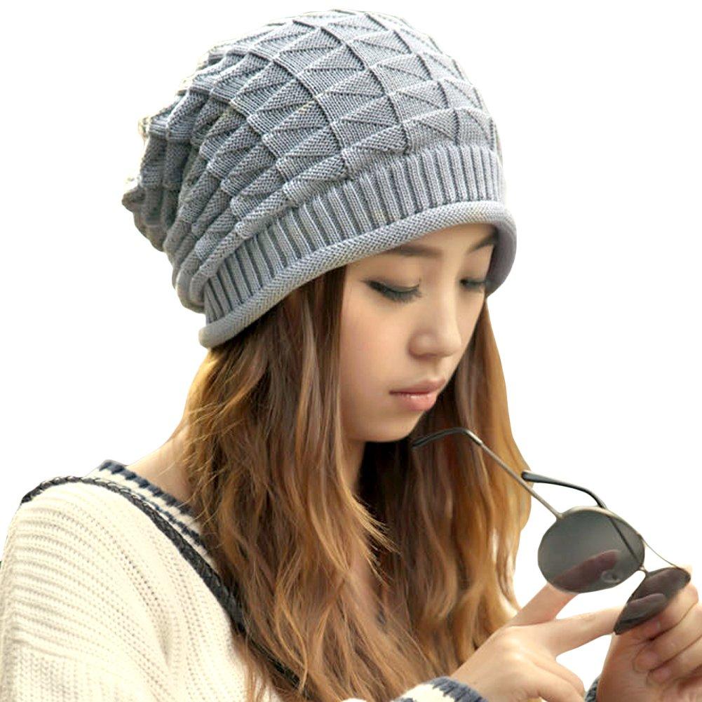 LOCOMO Hats Women Girl Pattern Slouchy Knit Beret Beanie Crochet Rib ...