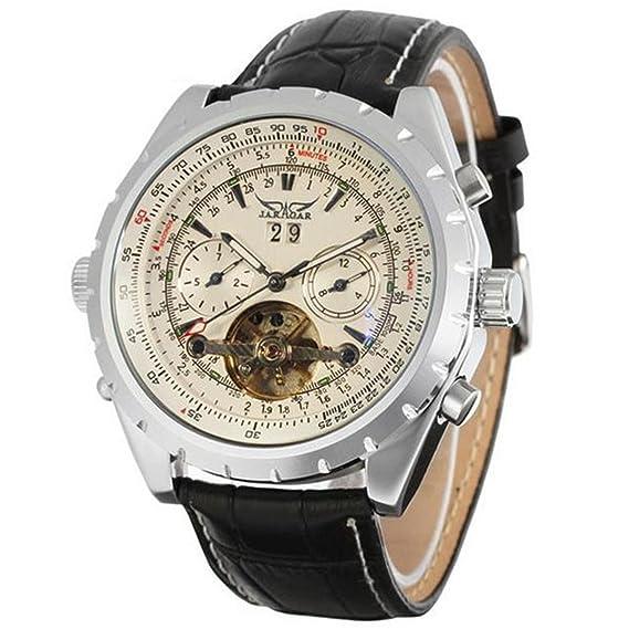 JARAGAR mecánico automático relojes de lujo 4 manos FECHA Tourbillon para hombre reloj de pulsera: Amazon.es: Relojes
