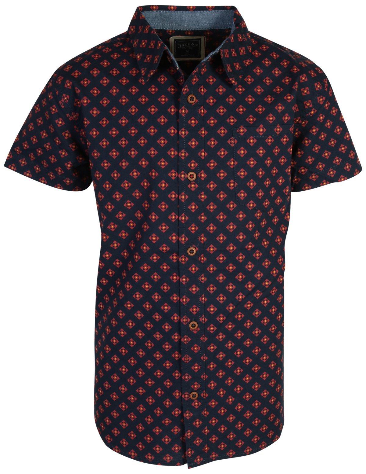 Jachs Boys Short Sleeve Button Down Shirt, Motif Navy, Size 14/16'