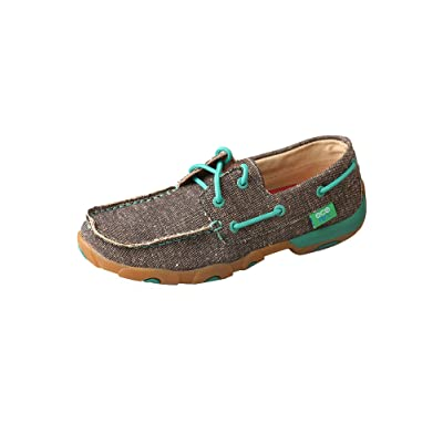 Twisted X Women's Boat Shoe Canvas Driving Moccasins: Clothing