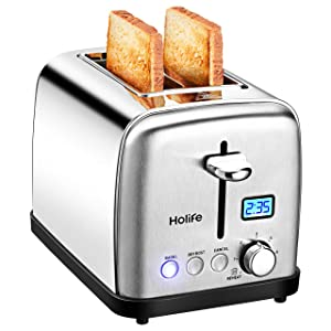 """Toaster, HoLife 2 Slice Prime Rated Toasters [LCD Dispaly] Stainless Steel Bagel Toaster (6 Bread Settings, Bagel/Defrost/Reheat Function, 1.5"""" Wide Slots, Removable Crumb Tray, 900W, Silver)"""
