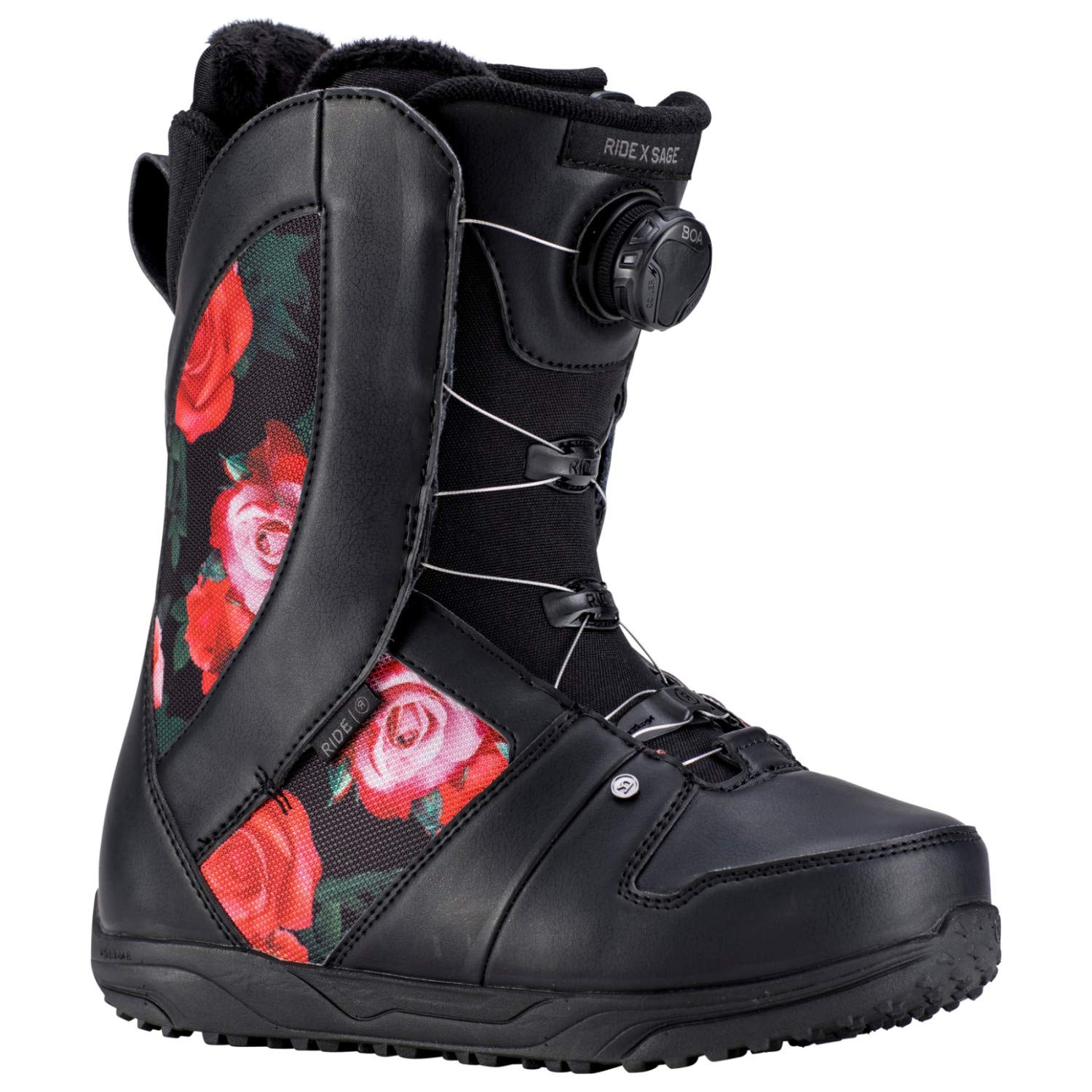 Ride Sage Boa Coiler Womens Snowboard Boots 2019-8.0/Black Rose by Ride