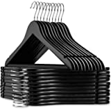 Casafield - 20 Black Wooden Suit Hangers - Premium Lotus Wood with Notches & Chrome Swivel Hook for Dress Clothes, Coats…