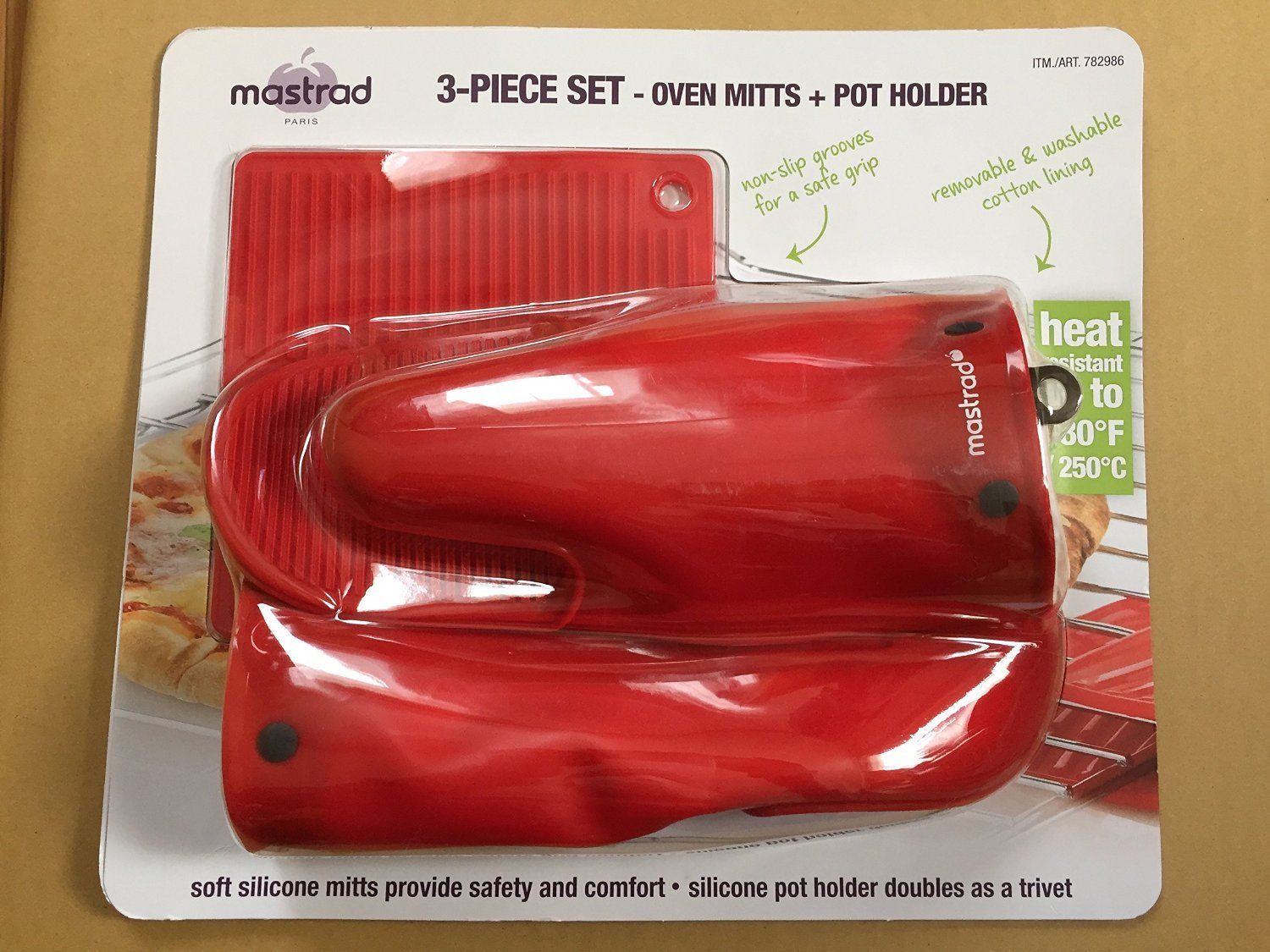 MASTRAD heat-resistant silicon oven mitt set of two Red