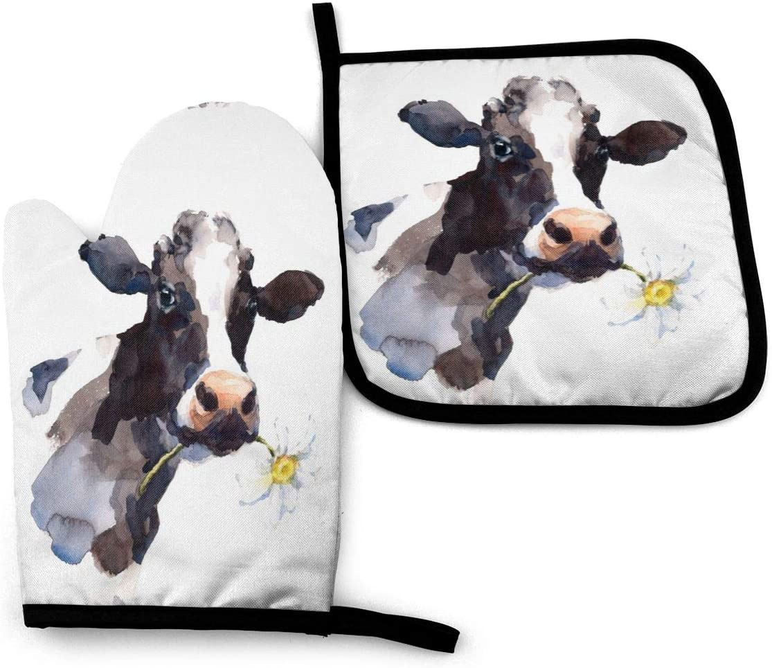 Foruidea Watercolor Cow with Daisy Flower Oven Mitts and Pot Holders Sets Kitchen Heat Resistant Oven Gloves for BBQ Cooking Baking, Grilling, Machine Washable (2-Piece Sets)