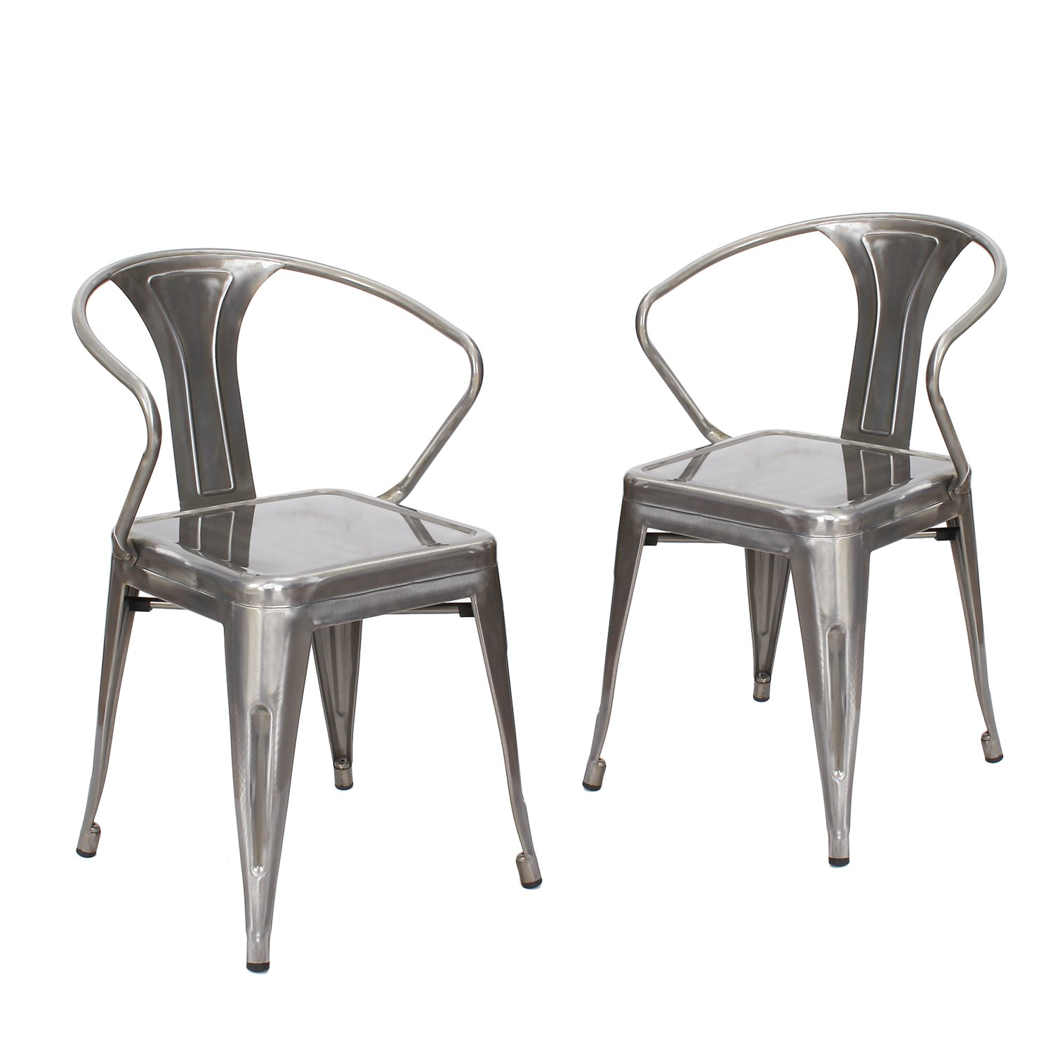 Adeco Metal Stackable Curve Armrest Chair
