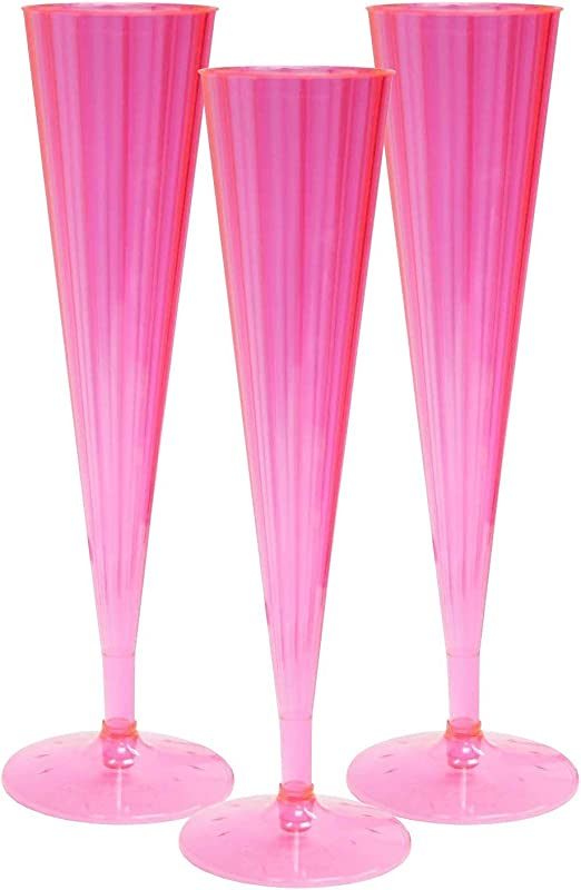 Clear 120 Craft and Party Hard Plastic Two Piece 4-Ounce Champagne Glasses