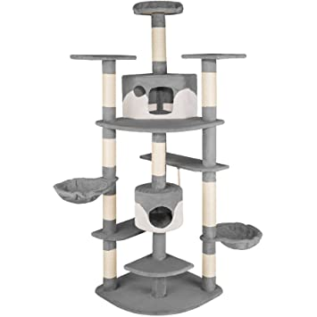 TecTake Rascador Árbol para gatos 201 cm de altura - disponible en diferentes colores - (gris-blanco | no. 402184): Amazon.es: Hogar