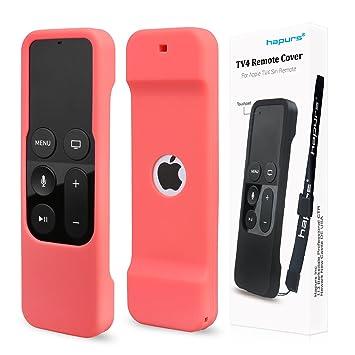 Hapurs cubierta protectora antideslizante de silicona, con correa, para el Apple TV de 4ª generación, para mando a distancia Siri, correa incluida: ...