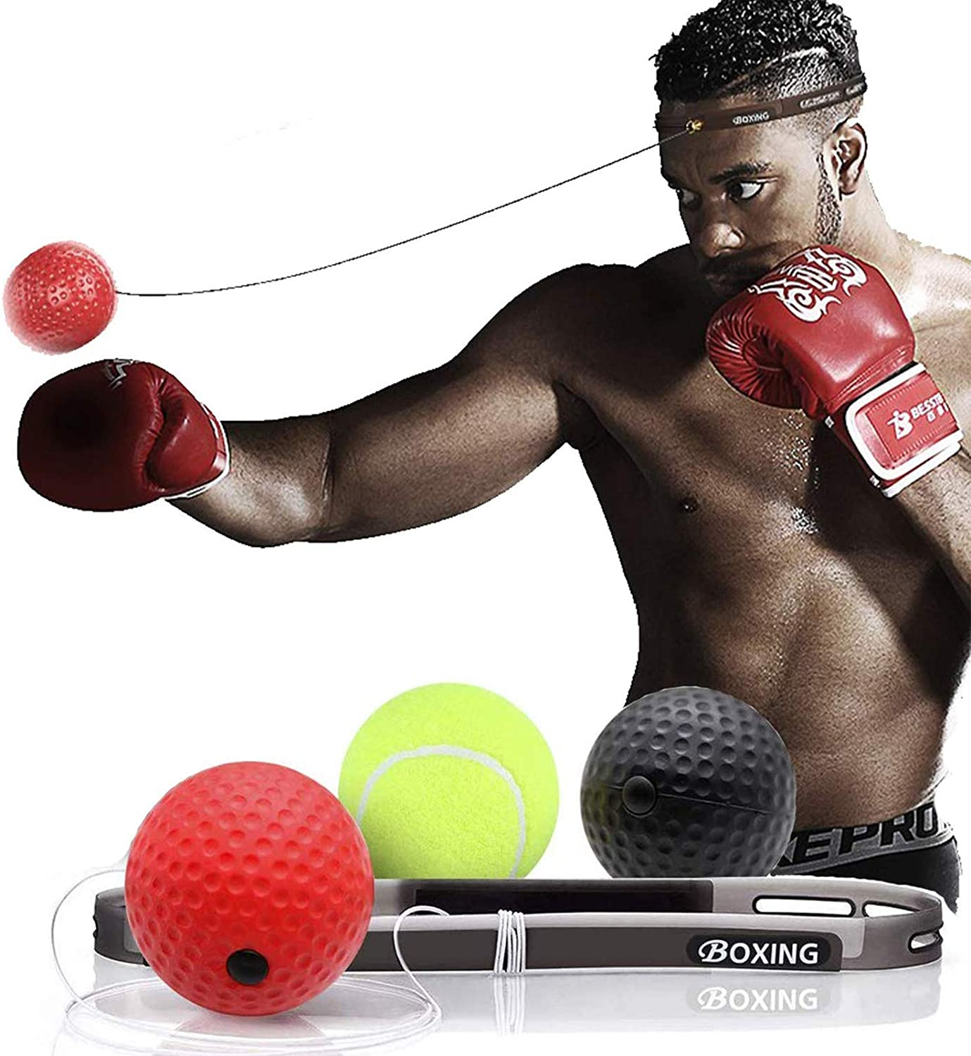 Funpkin Boxing Reflex Ball - 3 Difficulty Level Reaction Balls with Headband, Fight Ball for Improve Speed Reactions and Hand Eye Coordination, Home Sports for Boxing, Combat Sports Training, Fitness