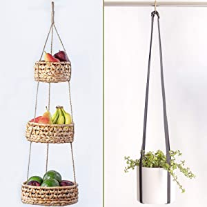 Base Roots Natural Woven Seagrass Wicker Baskets & Adjustable Vegan Leather Plant Hanger | Planter Holder for Indoor Plants, Pot or Basket to Hang from Wall | Handmade Modern Boho Home Decor | Hanging