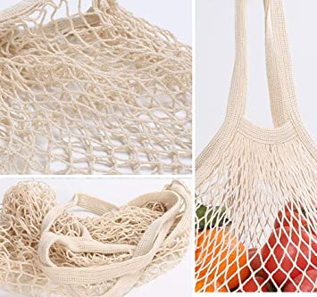5 Pack Long Handle Net String Shopping Bag Cotton Reusable Shopping Tote Net String Organizer for Grocery Shopping Beach Toys Fruit and Vegetable GothYor Youngle Reusable Shopping Bag Sturdy /& Wear