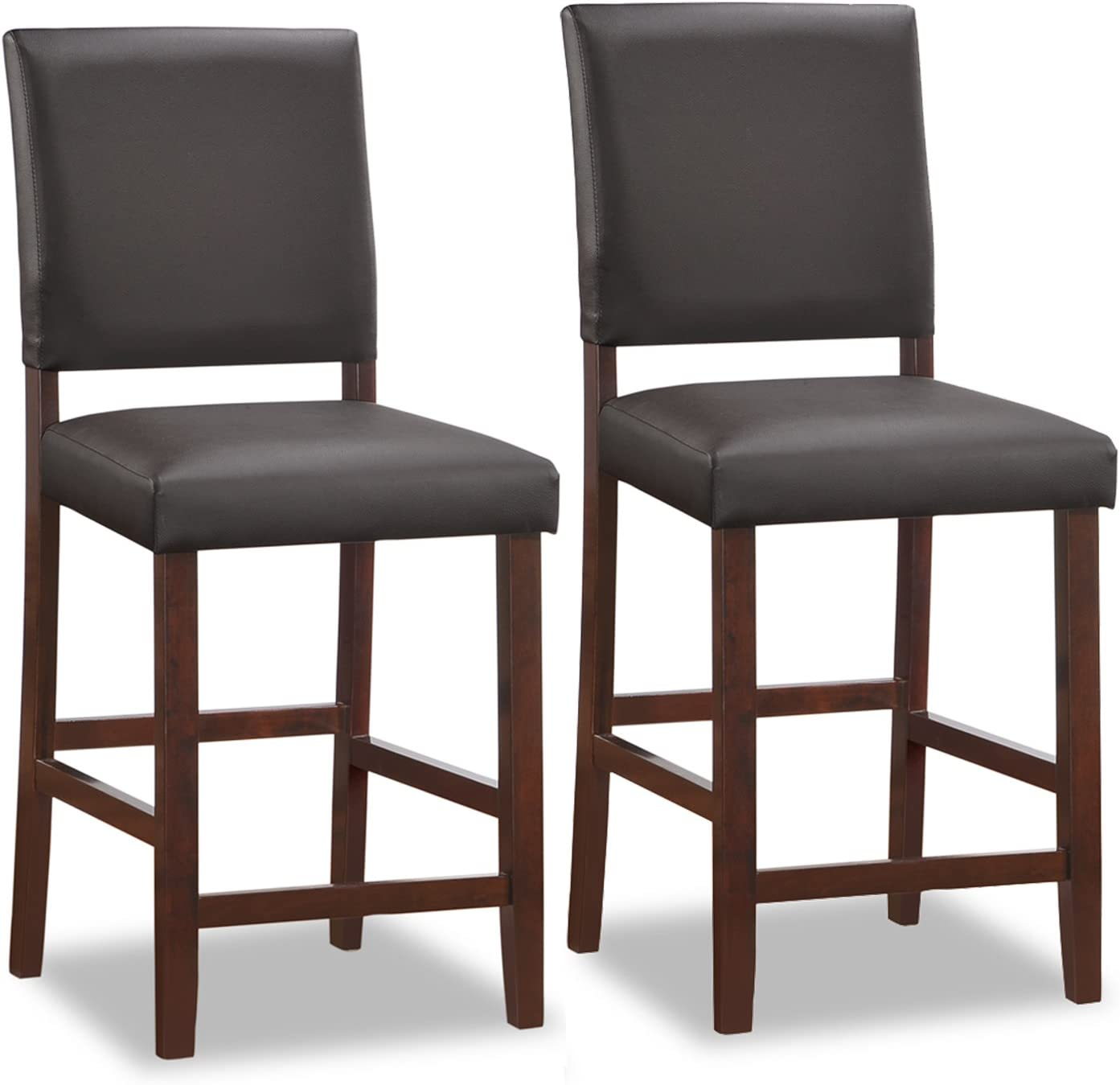 Leick Wood Upholstered Back Counter Height Bar Stool with Ebony Faux Leather Seat, Set of 2