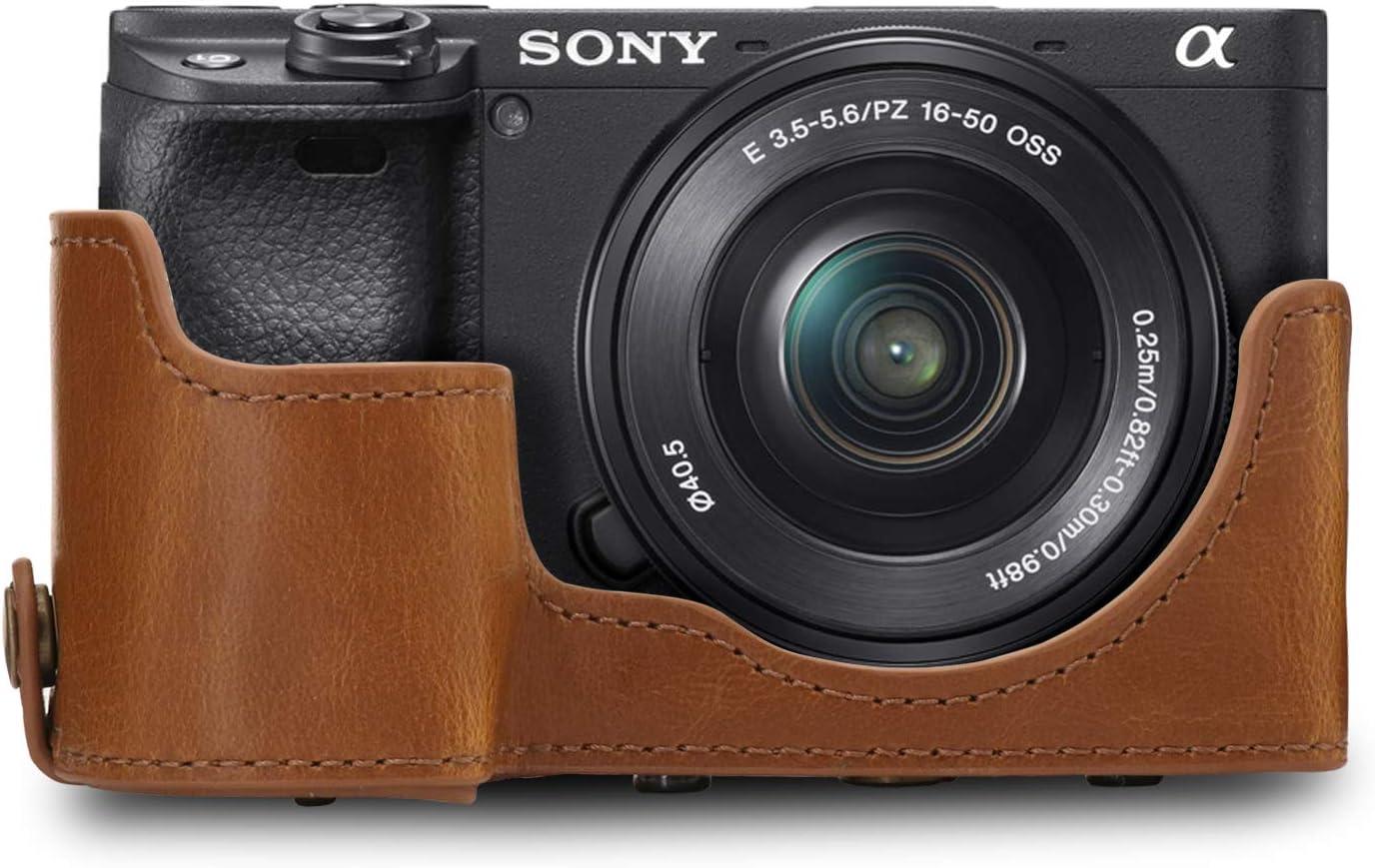 18-135mm A6400 MegaGear Estuche Ever Ready Funda de Cuero con Correa Compatible con Sony Alpha A6100 de Pronto Uso