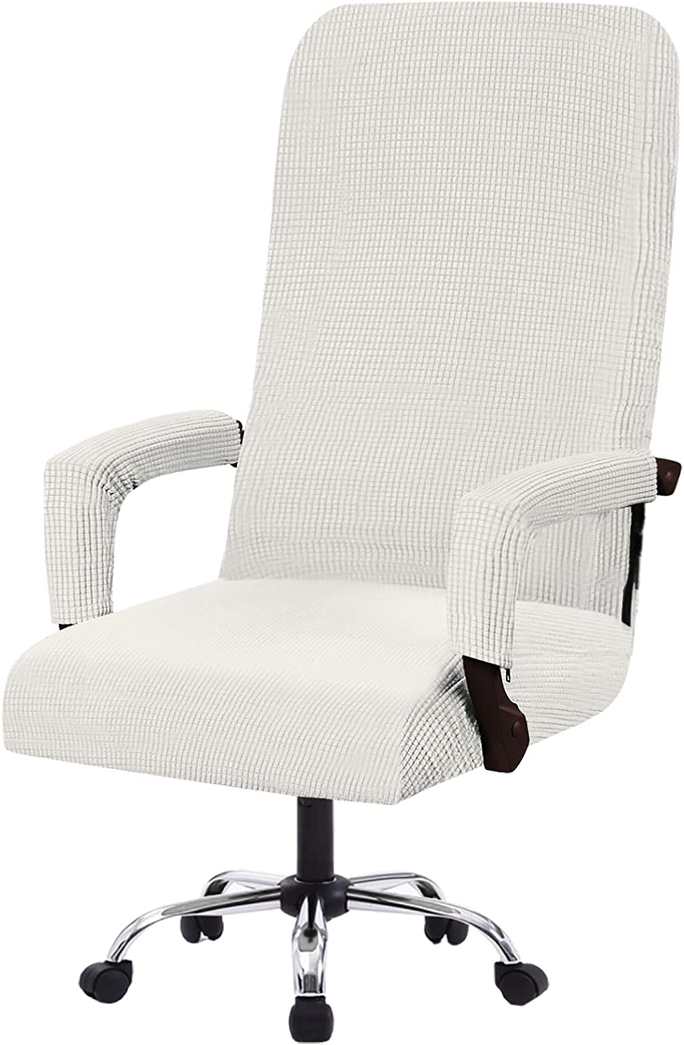 Flamingo P Stretch Office Chair Covers Computer Chair Universal Chair Cover Slipcovers Contemporary High Back Office Chair Covers, Thick Checked Jacquard, 2 Arm Covers (Off White, Large)