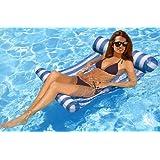 FLYMEI Premium Inflatable Swimming Pool Float Hammock Lounge, Comfortable Pool Lounger (Blue)