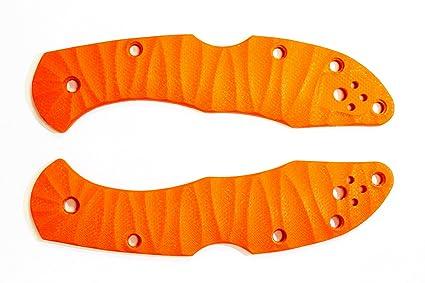Scales for Spyderco Delica 4 (Orange G10) custom knife handles (Left hand  carry)