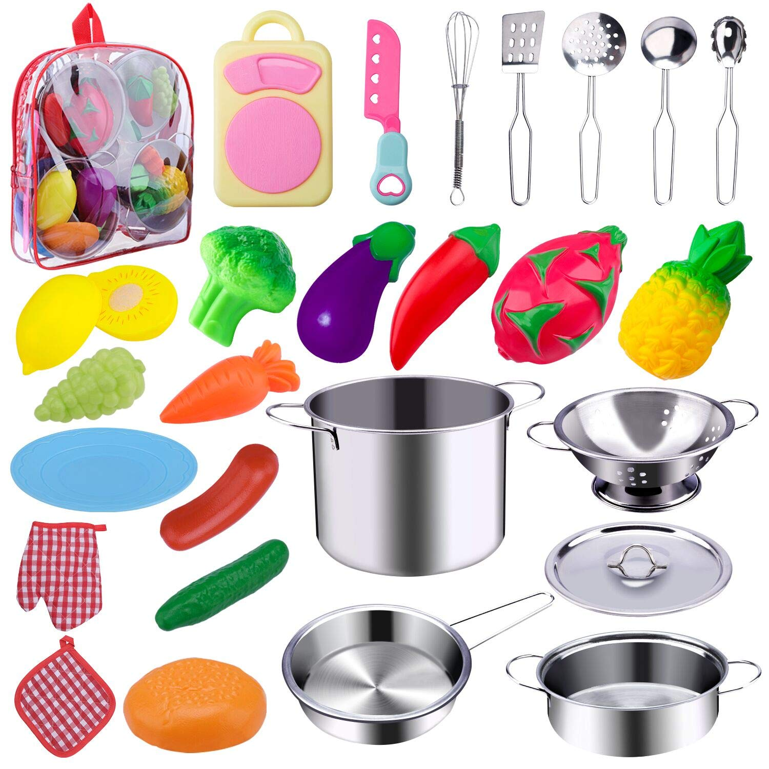 WAASII 26 Pcs Kitchen Pretend Play Accessories Toys with Stainless Steel Cookware Pots and Pans Set,Cooking Utensils and Healthy Cutting Play Food Set Gifts Learning Tool for Kids Girls Boys by WAASII