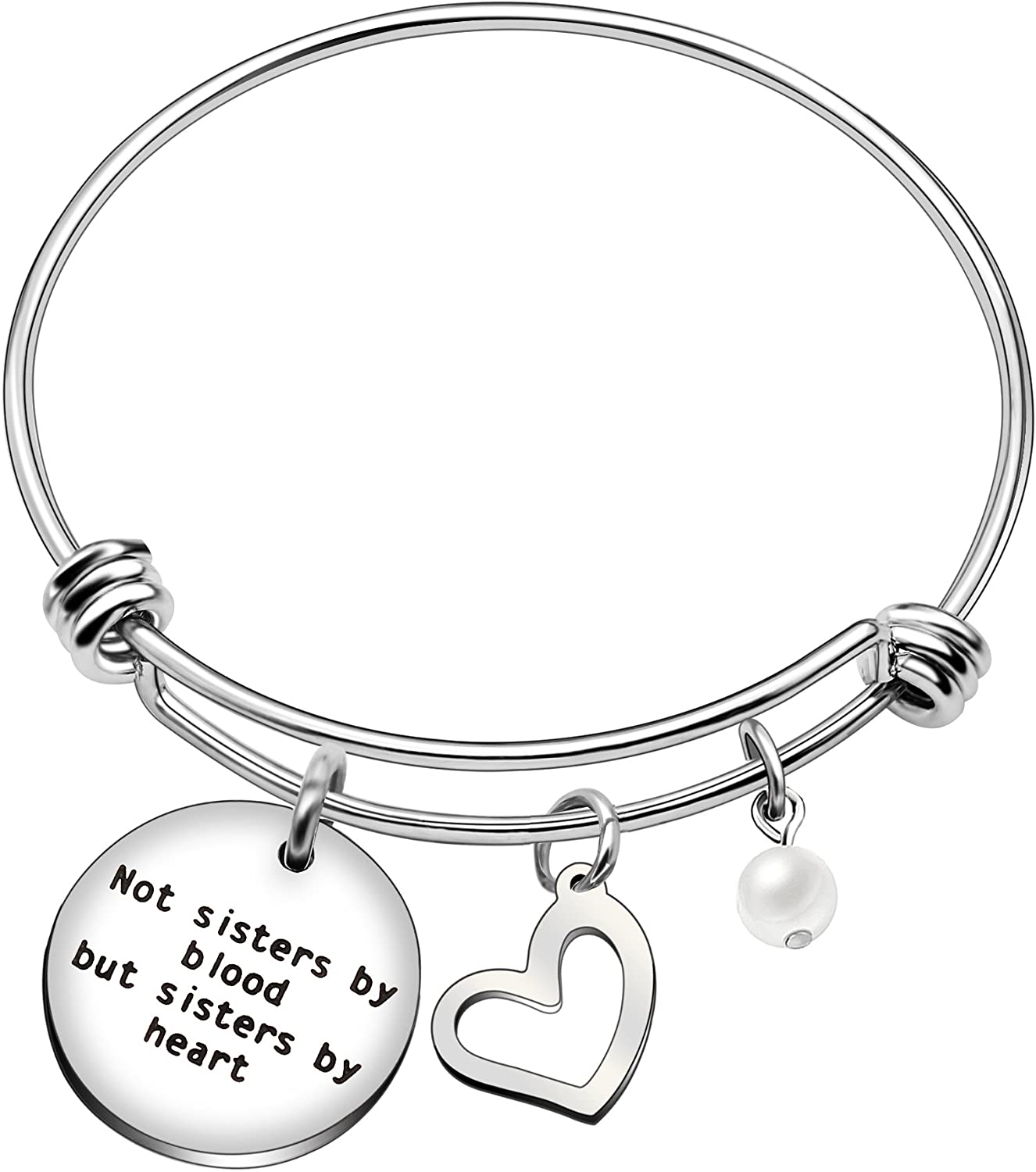 Pulsera para hermanas con texto en inglés «Best Friend Sisters By Blood But Sisters By Heart Pearl»
