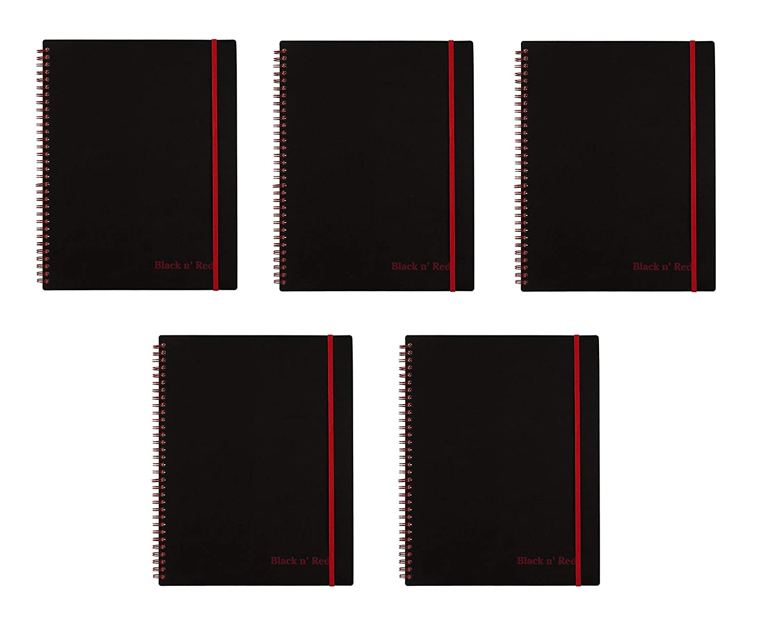 K66652 11 x 8-1//2 70 Ruled Sheets Sold as 5 Pack Black n Red Twin Wire Poly Cover Notebook Black//Red