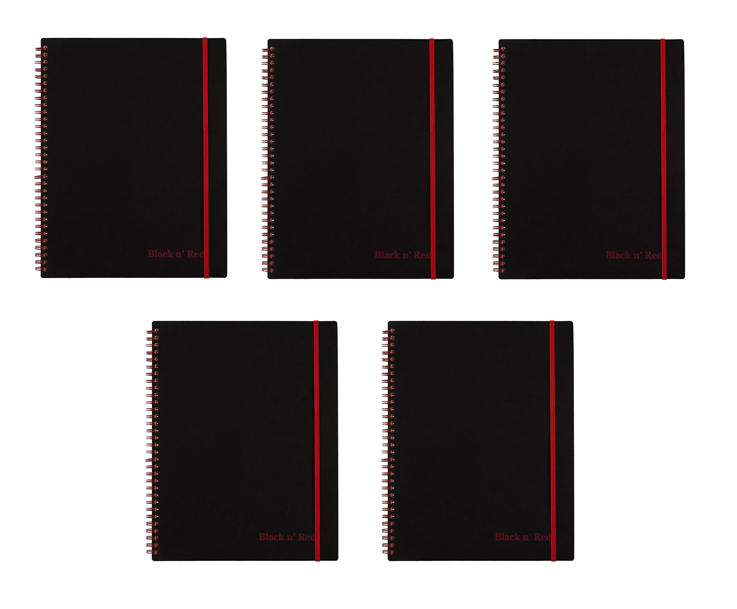 Black n' Red Twin Wire Poly Cover Notebook, 11'' x 8-1/2'', Black/Red, 70 Ruled Sheets. Sold as 5 Pack (K66652)