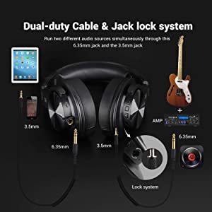 OneOdio Fusion Bluetooth Over Ear Headphones, Studio DJ Headphones with Share-port, Wired and Wireless Professional Monitor Recording Headphones with Stereo Sound for Electric Drum Piano Guitar AMP (Color: black)