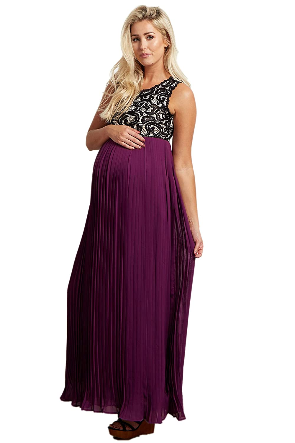 d9d8fee19d9 PinkBlush Maternity Pleated Chiffon Lace Top Maxi Dress at Amazon Women s  Clothing store