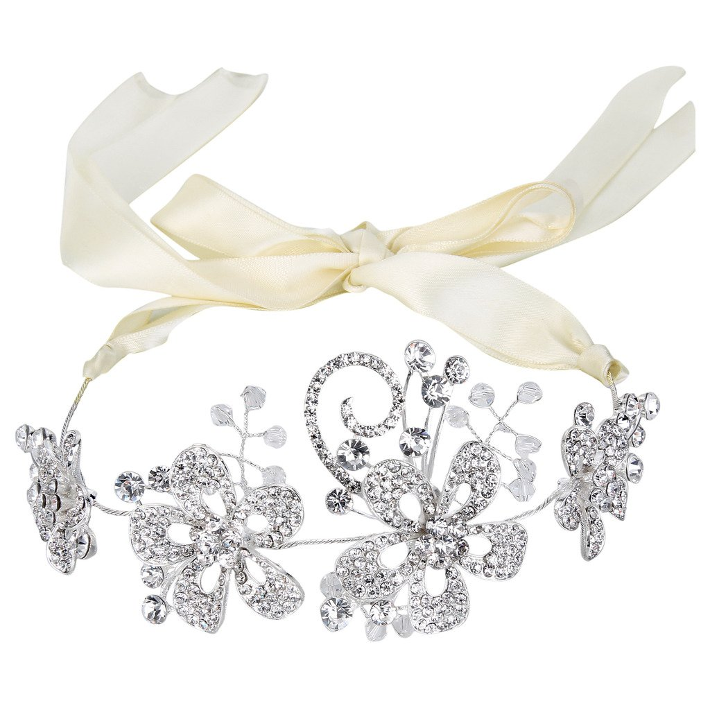 BriLove Women's Bohemian Crystal Flower Cluster Filigree Wedding Ribbon Tie Bendable Hair Accessory 12000456ca