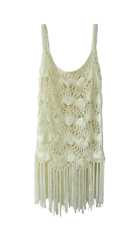 30954d087549 Fringe Cover up Dress White Crochet Vest Dress Women Summer Beach Swimsuit  Cover Up at Amazon Women's Clothing store: