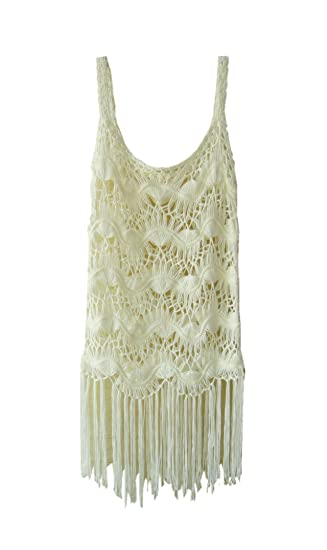 426ada1fc90 Ivory Cover up Dress White Crochet Summer Beach Vest Dress Women Swimsuit  Cover Up (S