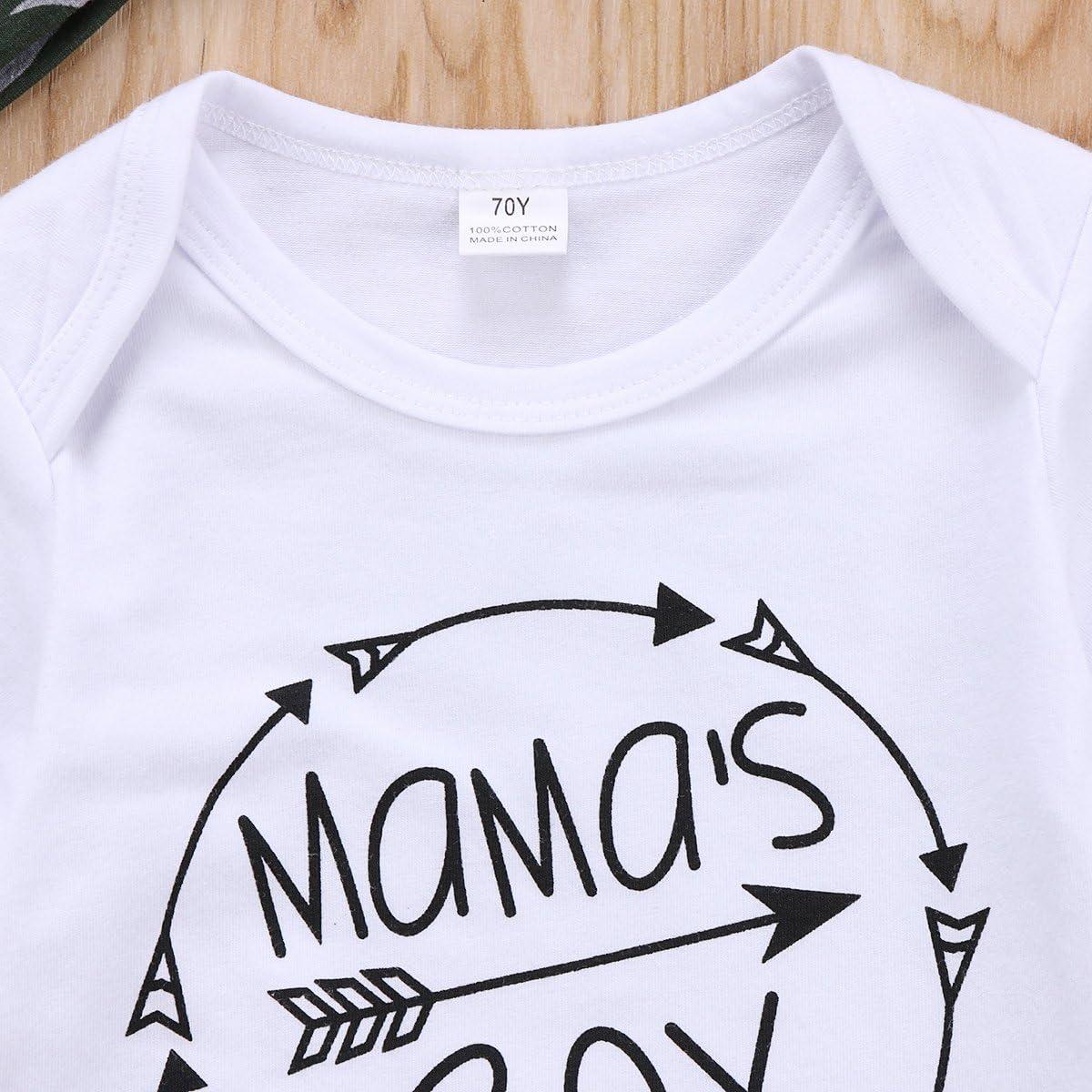 Conjunto de ropa para reci/én nacidos y beb/és Geagodelia dise/ño de letra larga con pantalones de camuflaje y sombrero
