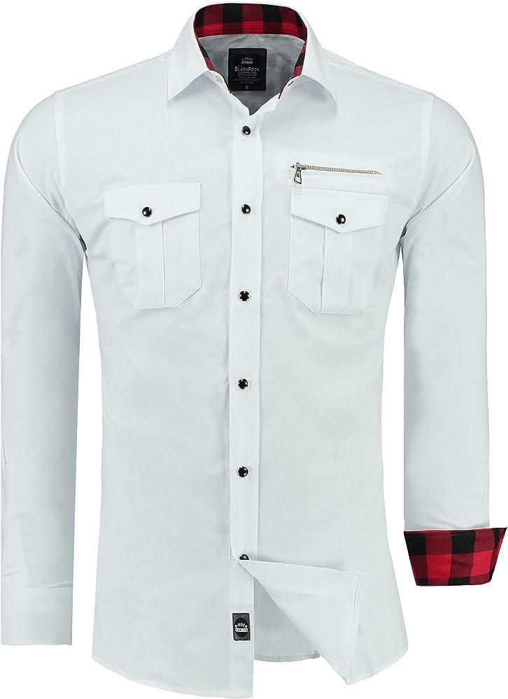 Black Rock - Camisa Casual - Manga Larga - para Hombre Blanco Blanco: Amazon.es: Ropa y accesorios