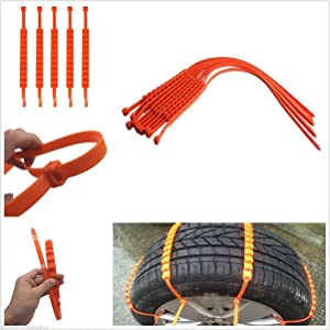 10 Pcs Easy Installation Easy Remove Anti-skip Wheel Tyre Snow Chain Universa Fit For 175 to 295 Tyres