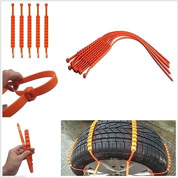 Bridas antinieve para coche, antideslizantes, ajuste universal y fácil instalación, para neumáticos de 175 a 295, 10 unidades: Amazon.es: Coche y moto